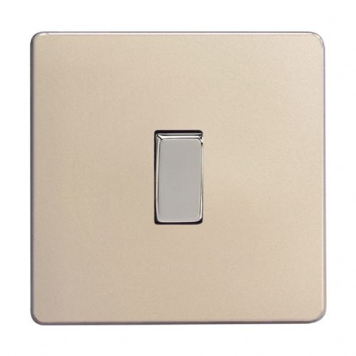 Varilight XDN1S Screwless Satin Chrome 1 Gang 10A 1 or 2 Way Rocker Light Switch